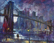 Brooklyn Bridge Painting Posters - Romance by Hudson River Poster by Ylli Haruni