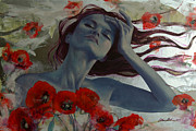 Red Art Prints - Romance Echo Print by Dorina  Costras