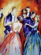 Dancing Couples Paintings - Romance in Bloom  by Mary Cahalan Lee