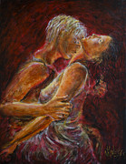 Large Format Painting Prints - Romance in Red Lovers Print by Nik Helbig