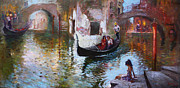 Canal Painting Originals - Romance in Venice 2013 by Ylli Haruni