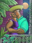 Puerto Rico Drawings Framed Prints - Romance Jibaro Framed Print by Oscar Ortiz
