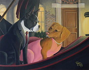 Dogs Drawings - Romance on the Grand Canal by Teresa Einsig