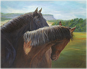 Black Stallion Paintings - Romance by Renee Forth Fukumoto