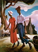 Man And Woman Paintings - Romance by Thomas Hart Benton