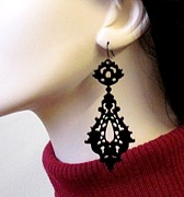 Laser Cut Jewelry - Romance-Victorian Lace Earrings by Rony Bank