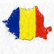Romania Photo Prints - Romania Painted Flag Map Print by Antony McAulay