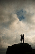 Hands To Face Posters - Romantic Couple On A Mountain Peak Poster by Lee Avison