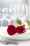 White Roses Prints - Romantic dinner setting Print by Elena Elisseeva