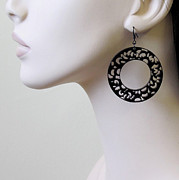 Perspex Jewellery Jewelry - Romantic Lace Hoops Earrings by Rony Bank