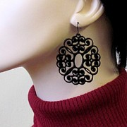Large Earrings Jewelry - Romantic Lacy Flowers Earrings by Rony Bank