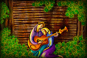 Spanish Guitar Posters - Romantic Moments Poster by Bedros Awak