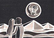 Illustrative Prints - Romantic Moonlight Print by Heidi Bjork