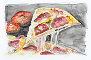 Italian Meal Painting Prints - Romantic Pizza With Salami Print by Irina Gromovaja