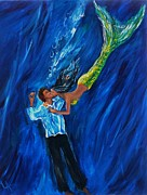 Mermaid Art Paintings - Romantic Rescue by Leslie Allen
