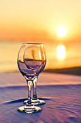 Wine Service Framed Prints - Romantic Sunset Drink With Wine Glass Framed Print by Tuimages