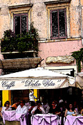 Umbrellas Digital Art - Rome Cafe Italy by Marsha Young