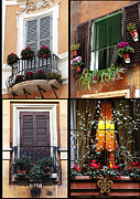 Photo Collage Prints - Rome Flowers in the Window Print by John Rizzuto