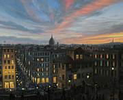 Rome Painting Prints - Rome in The Light of Sunset Print by Kiril Stanchev