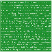World Cities Photo Posters - Rome in Words Green Poster by Sabine Jacobs