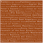 World Cities Photo Posters - Rome in Words Toffee Poster by Sabine Jacobs