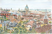 Watercolour Canvas Paintings - Rome overview from the Borghese Gardens by Anthony Butera