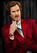 Ron Burgundy Prints - Ron Burgundy Print by Michael Tiscareno