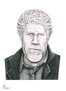 Pencil Drawing Posters - Ron Pearlman Poster by Murphy Elliott