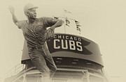 Black And White Ball Park Framed Prints - Ron Santo Chicago Cub Statue In Heirloom Finish Framed Print by Thomas Woolworth