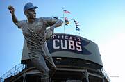 Cubs Baseball Park Framed Prints - Ron Santo Chicago Cubs Statue Framed Print by Thomas Woolworth