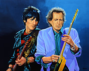 Keith Richards Framed Prints - Ron Wood and Keith Richards Framed Print by Paul  Meijering
