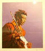 Rolling Stones Painting Originals - Ron Wood Jimi Hendrix  by Richie Perillo