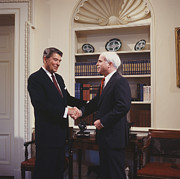 White House Digital Art Framed Prints - Ronald Reagan and John McCain Framed Print by Carol Highsmith