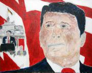 Politicians  Painting Originals - Ronald Reagan and Mikhail Gorbachev Tear Down These Walls by Richard W Linford