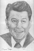 Ronald Reagan Drawings Prints - Ronald Reagan Print by Bryan Bustard