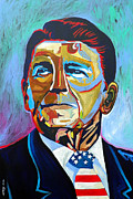 Reagan Painting Framed Prints - Ronald Reagan Framed Print by Gray