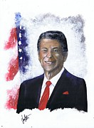 Reagan Painting Framed Prints - Ronald Reagan Framed Print by Jerry Bates