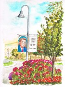 Politicians  Painting Originals - Ronald-Reagan-Library-gardens-at-Semi-Valley-CA by Carlos G Groppa