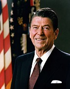 Ronald Reagan Posters - Ronald Reagan portrait Poster by Tilen Hrovatic