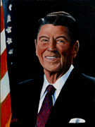 President Paintings - Ronald Reagan by Rick Fitzsimons