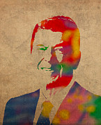 President Mixed Media Prints - Ronald Reagan Watercolor Portrait on Worn Distressed Canvas Print by Design Turnpike