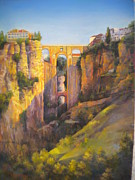 Spanish Pastels - Ronda Bridge evening by Heather Harman
