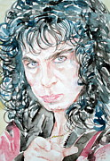 Black Sabbath Posters - RONNIE JAMES DIO watercolor portrait Poster by Fabrizio Cassetta