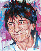 Guitarists Painting Originals - Ronnie by Tachi Pintor