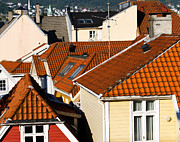 Bergen Posters - Roofs of Bergen Poster by Vadim Katcherovski