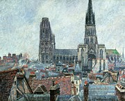 Chimneys Painting Framed Prints - Roofs of Old Rouen Grey Weather  Framed Print by Camille Pissarro
