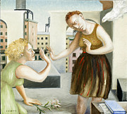 Women Together Painting Metal Prints - Rooftop Annunciation One Metal Print by Caroline Jennings