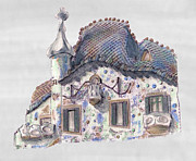 Ceramic Drawings - Rooftop at Casa Batllo Barcelona by Gerald Blaikie