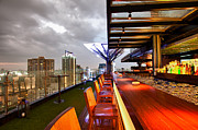 Rooftop Photos - Rooftop bar Above Eleven in Bangkok by Fototrav Print