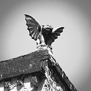 Fiend Framed Prints - Rooftop Gothic Gargoyle Statue above French Quarter New Orleans Black White Film Grain Digital Art Framed Print by Shawn OBrien